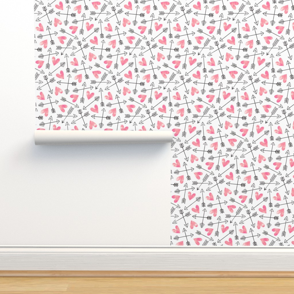 Isobar Durable Wallpaper featuring Arrows and Watercolor Hearts Love Valentine Pink by caja_design