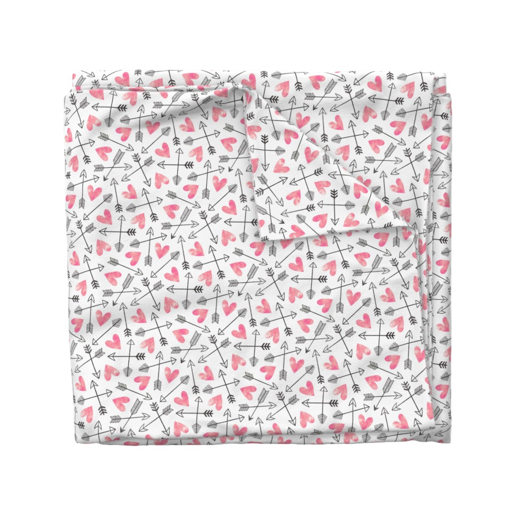 Wyandotte Duvet Cover featuring Arrows and Watercolor Hearts Love Valentine Pink by caja_design