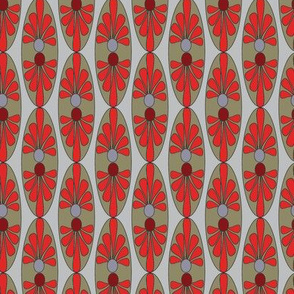 Abstract Red Olive Taupe Gray Grey Floral Oval_Miss Chiff designs
