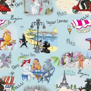 Poodle Dog Paris Collage