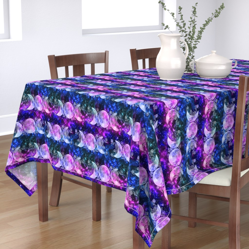 Bantam Rectangular Tablecloth featuring Triple Goddess Moons and Stars by tracy_dixon