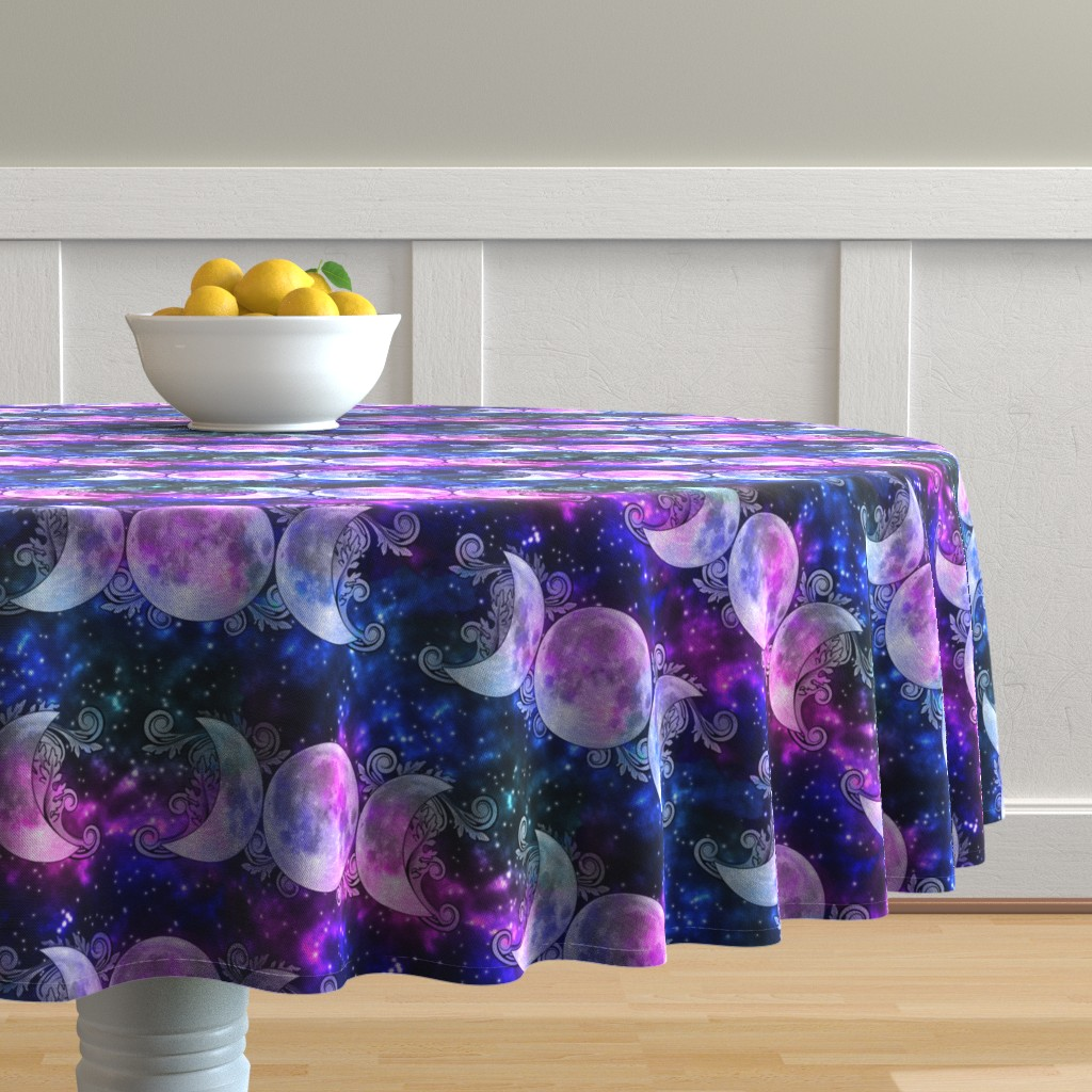 Malay Round Tablecloth featuring Triple Goddess Moons and Stars by tracy_dixon
