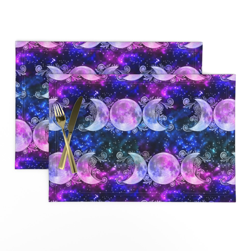 Lamona Cloth Placemats featuring Triple Goddess Moons and Stars by tracy_dixon
