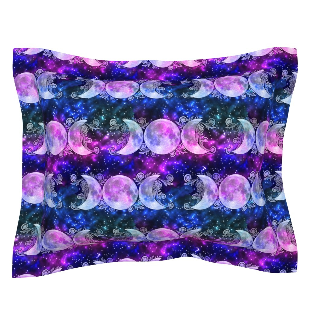 Sebright Pillow Sham featuring Triple Goddess Moons and Stars by tracy_dixon