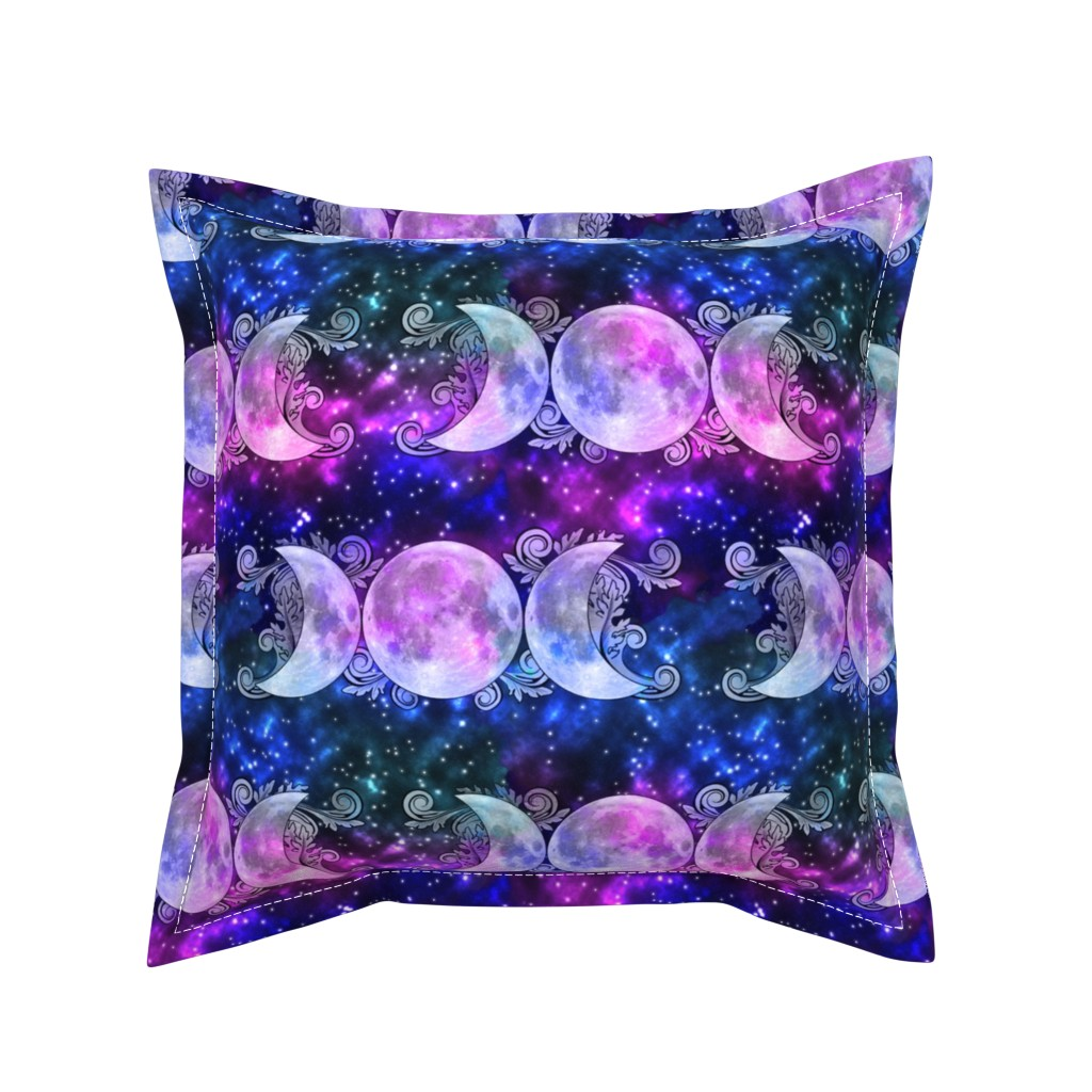Serama Throw Pillow featuring Triple Goddess Moons and Stars by tracy_dixon