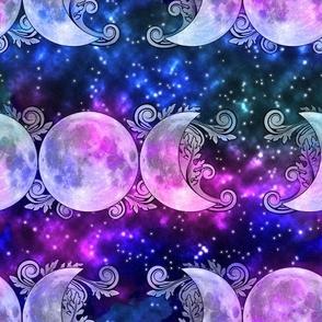 Triple Goddess Moons and Stars