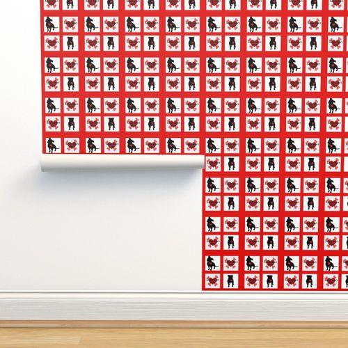 Staffie Adoption Quilt Block Red Spoonflower