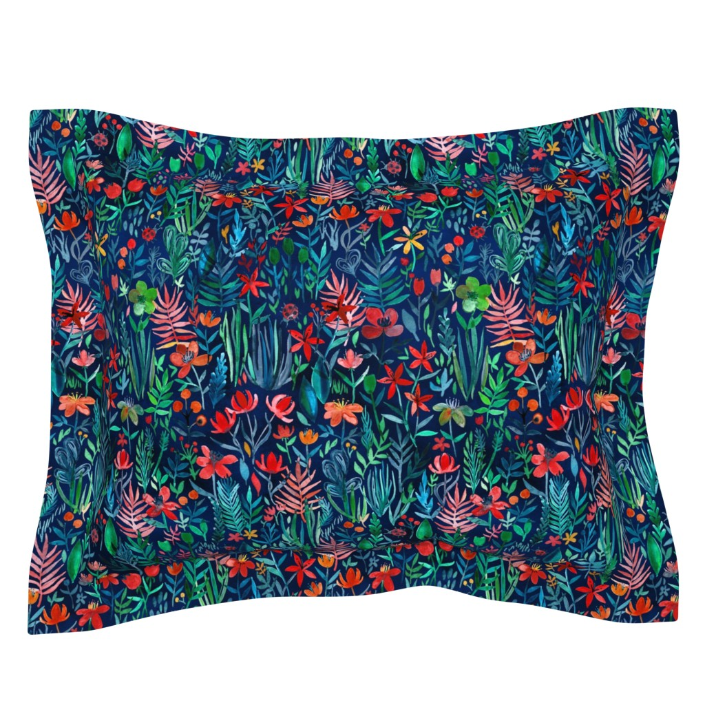 Sebright Pillow Sham featuring Tropical Ink watercolor garden - small print by micklyn