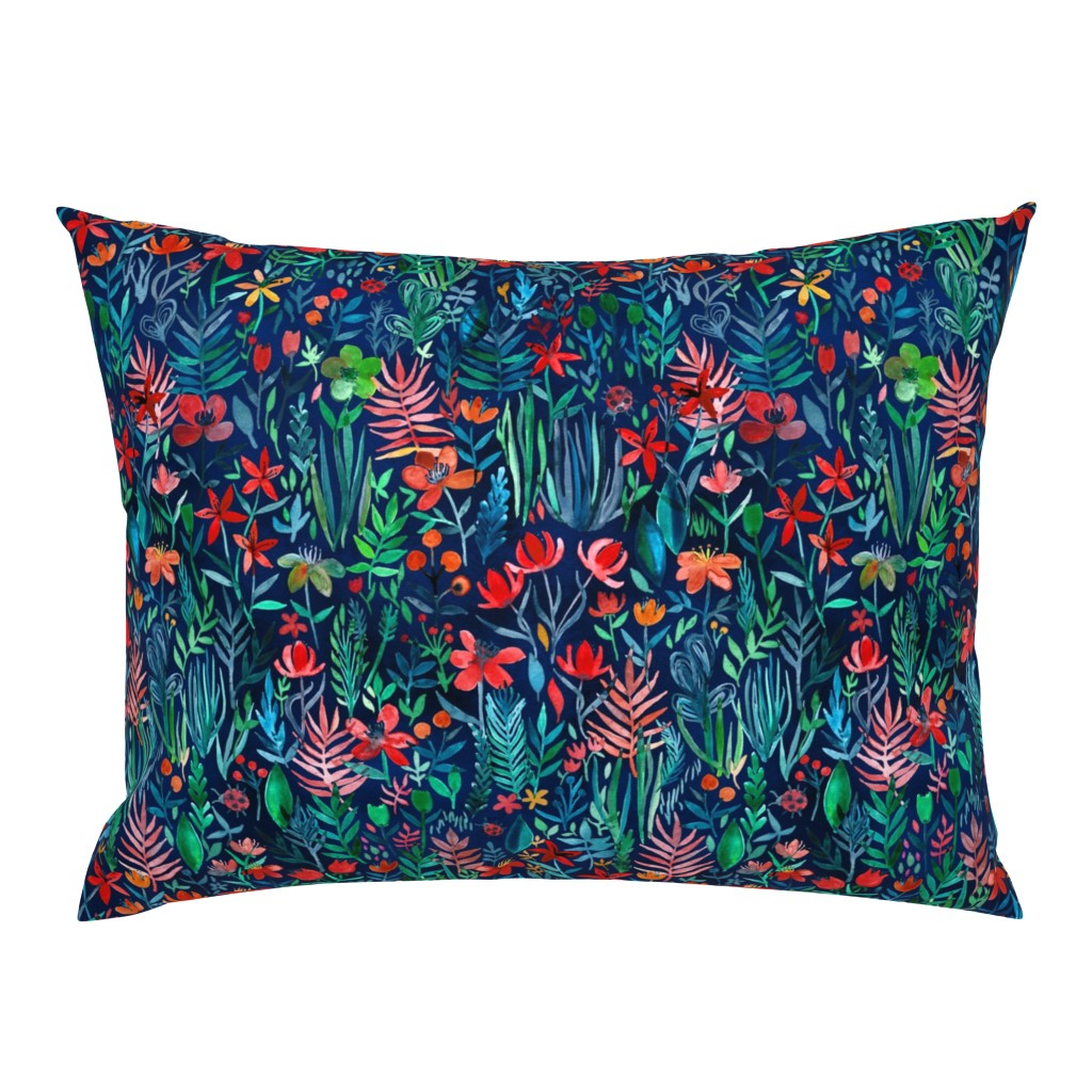 Campine Pillow Sham featuring Tropical Ink watercolor garden - small print by micklyn