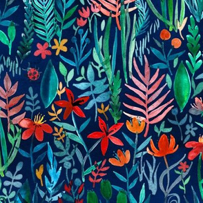 Tropical Ink watercolor garden - small print