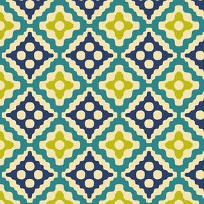 tribal diamonds - navy, teal, wasabi, cream