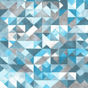 Watercolor Triangles Squares Geometric