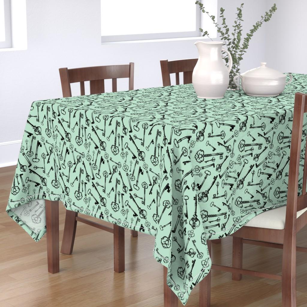 Bantam Rectangular Tablecloth featuring Antique Keys - Jade by thinlinetextiles
