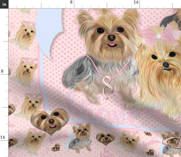 Fabric By The Yard Yorkie Maltese Papillon Breast Cancer Survivor Quilt Panel