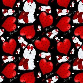 Maltese Hearts & I Love you - Black