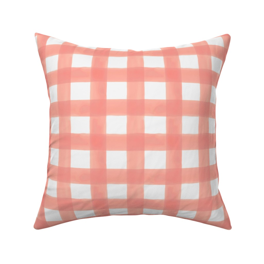 Catalan Throw Pillow featuring Watercolor Gingham in Peach by willowlanetextiles