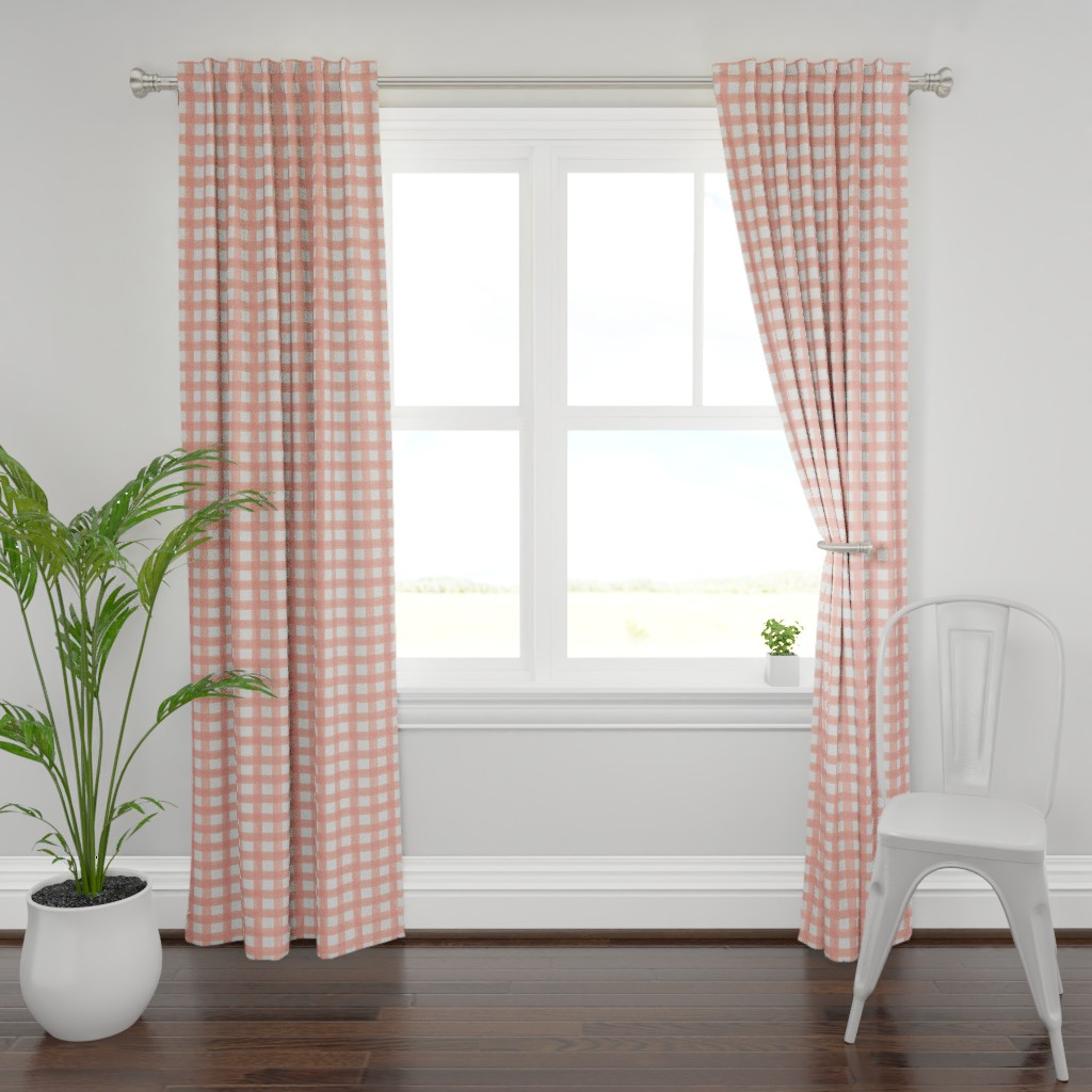 Plymouth Curtain Panel featuring Watercolor Gingham in Peach by willowlanetextiles