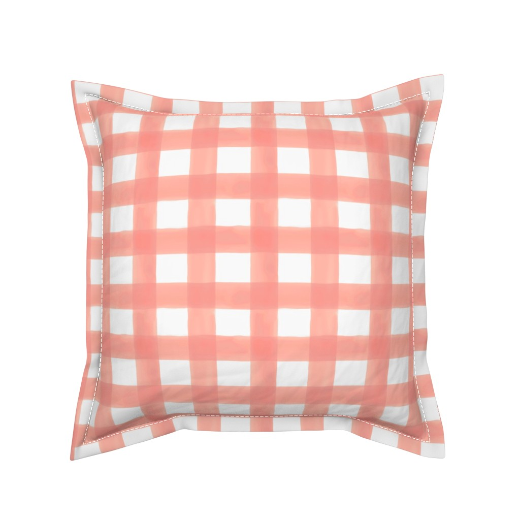 Serama Throw Pillow featuring Watercolor Gingham in Peach by willowlanetextiles