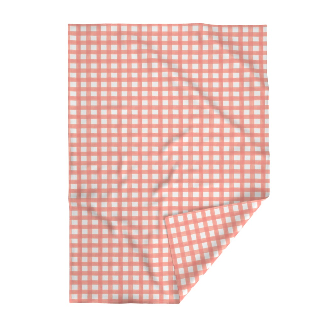 Lakenvelder Throw Blanket featuring Watercolor Gingham in Peach by willowlanetextiles