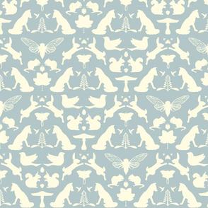 woodland damask blue