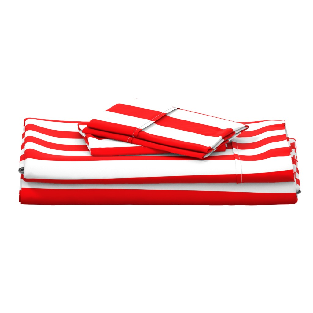 """Langshan Full Bed Set featuring Circus Red 2"""" Wide Cabana Stripes by paper_and_frill"""