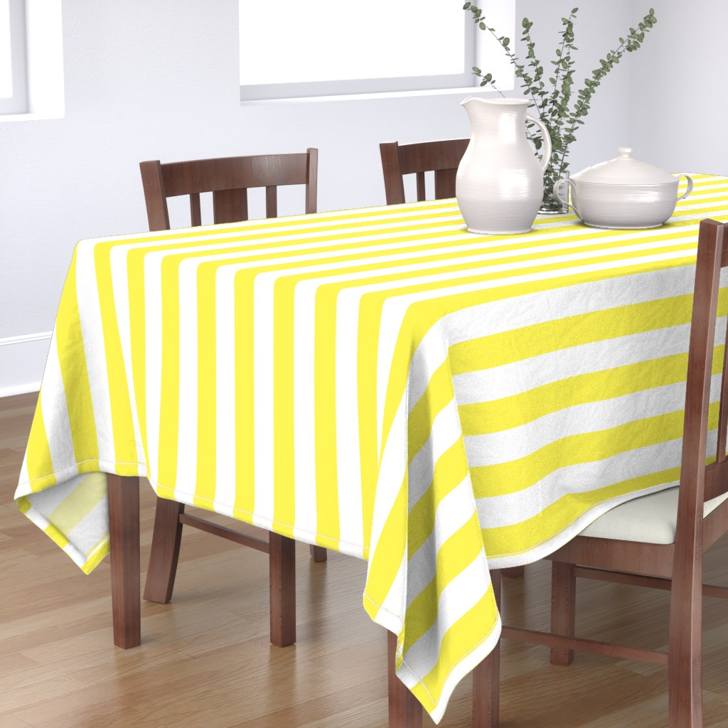 """Bantam Rectangular Tablecloth featuring Lemon Yellow 2"""" Wide Cabana Stripes by paper_and_frill"""