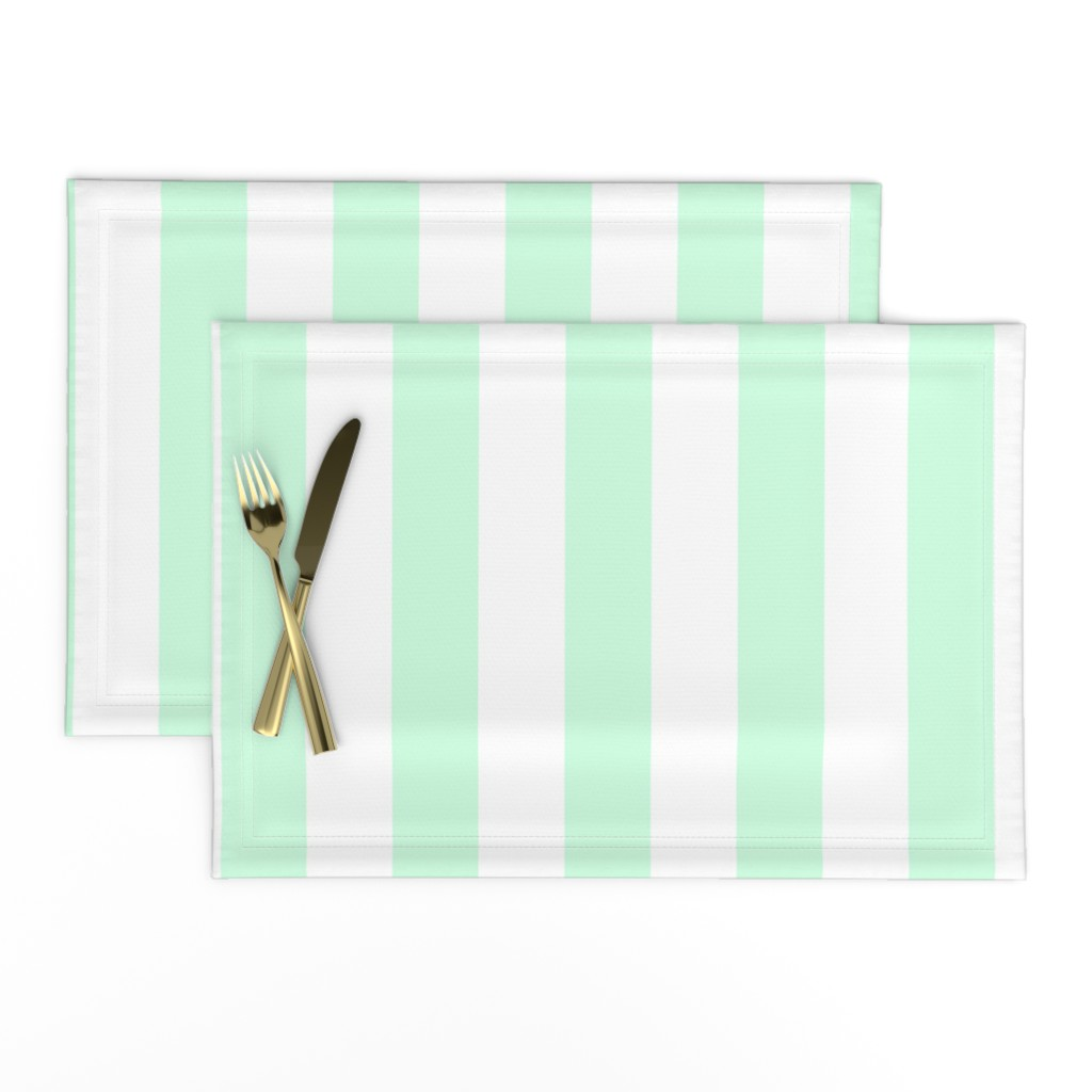 "Lamona Cloth Placemats featuring Summer Mint 2"" Wide Cabana Stripes by paper_and_frill"