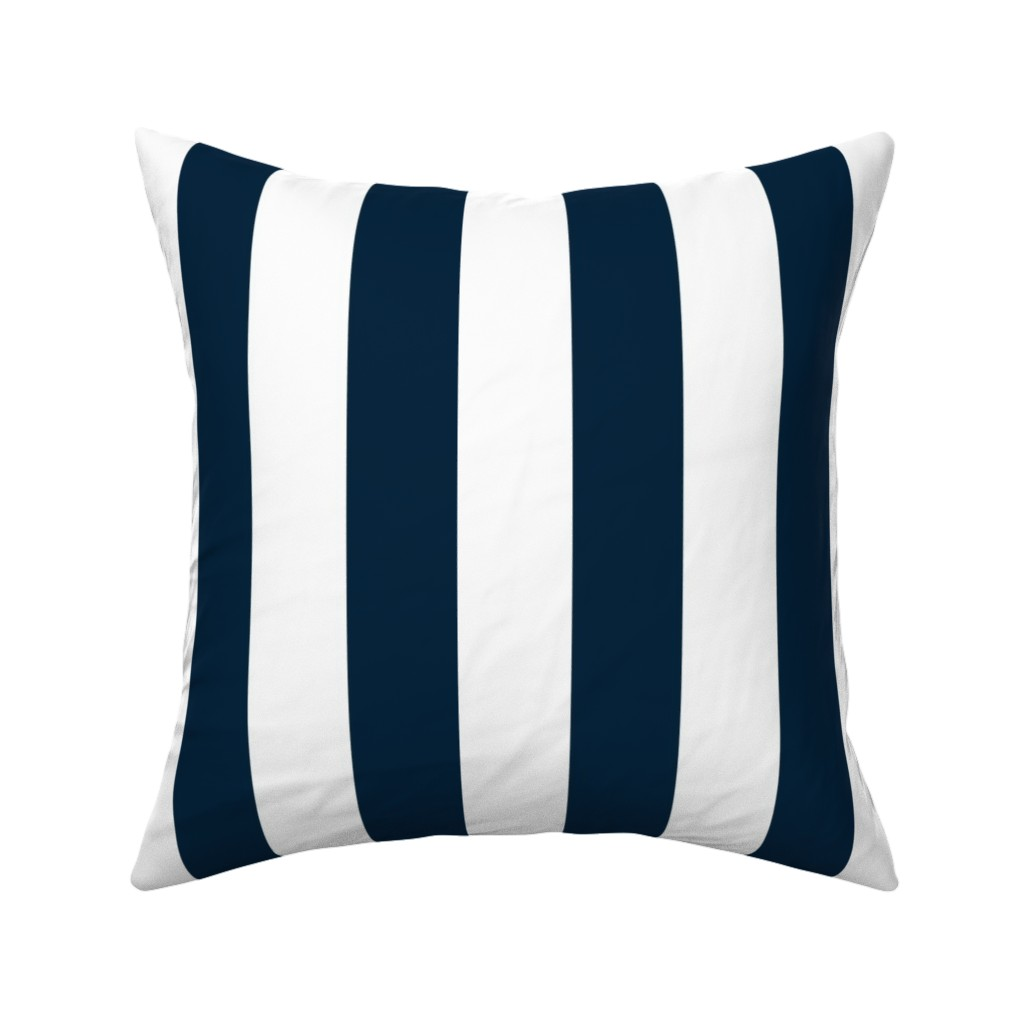 """Catalan Throw Pillow featuring Navy Marine Blue 2"""" Wide Cabana Stripes by paper_and_frill"""