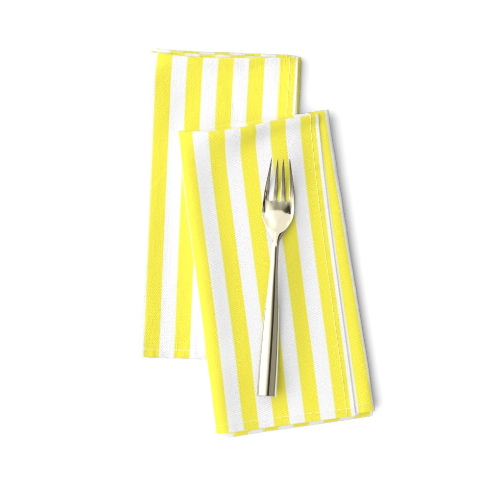 """Amarela Dinner Napkins featuring Lemon Yellow Sailor 1/2"""" Thin Stripes by paper_and_frill"""