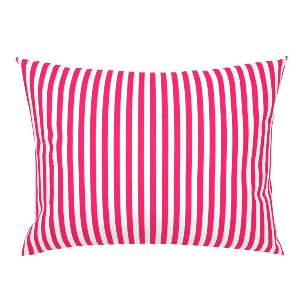 "Campine Pillow Sham featuring Pop Pink Sailor 1/2"" Thin Stripes by paper_and_frill"