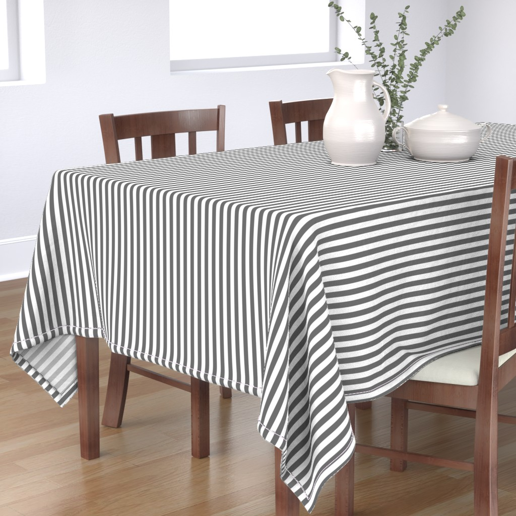 "Bantam Rectangular Tablecloth featuring Charcoal Grey Sailor 1/2"" Thin Stripes by paper_and_frill"