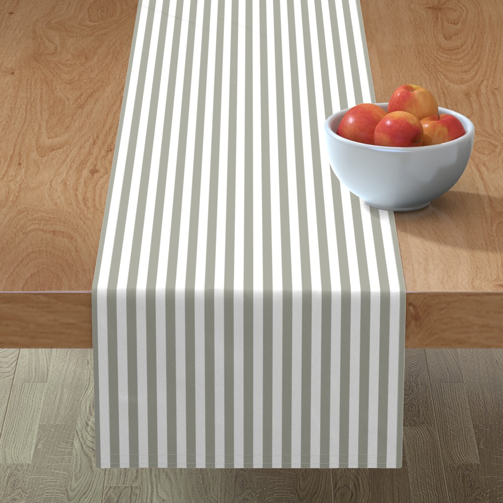 """Minorca Table Runner featuring Dove Grey Sailor 1/2"""" Thin Stripes by paper_and_frill"""