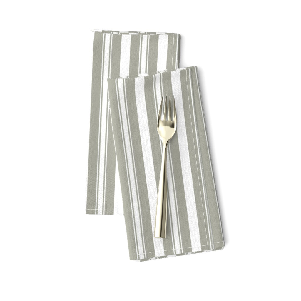 Amarela Dinner Napkins featuring Dove Grey Deckchair Stripes by paper_and_frill