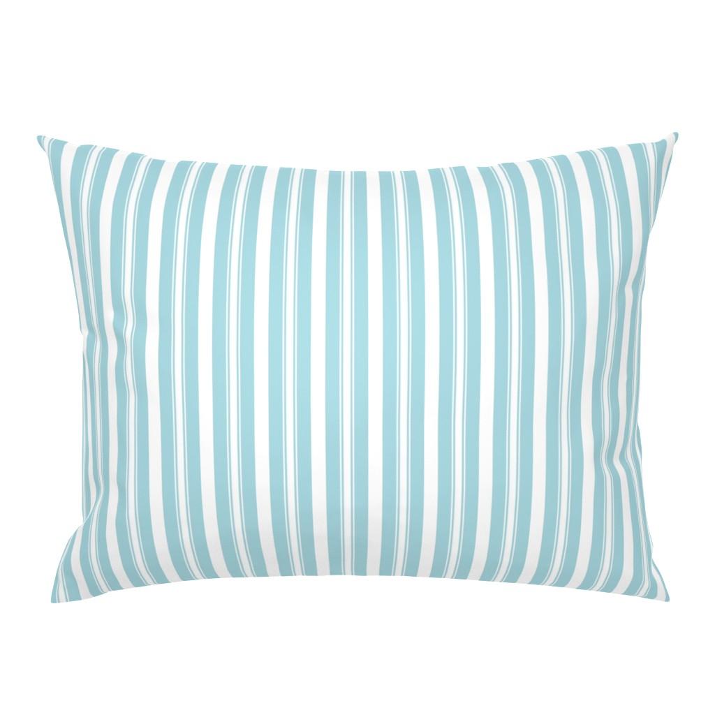Campine Pillow Sham featuring Garter Blue Deckchair Stripes by paper_and_frill