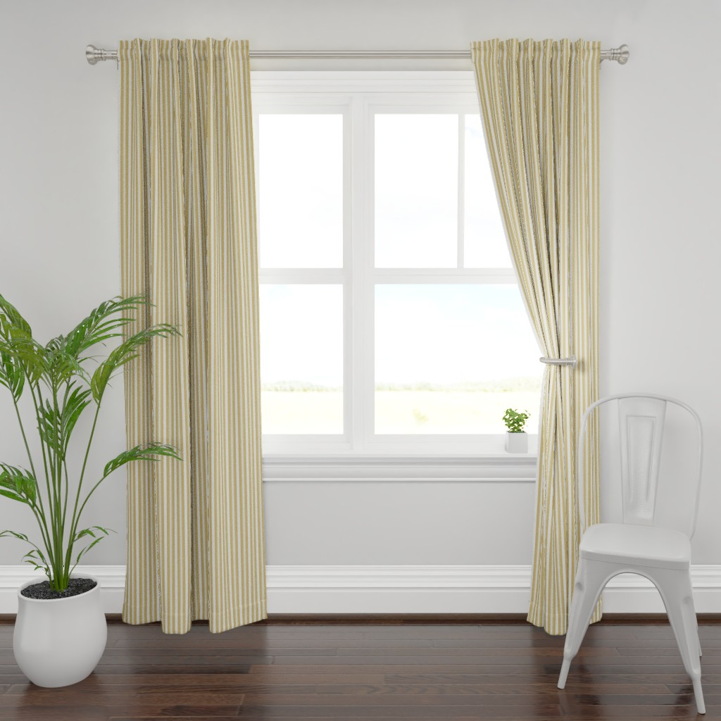 Plymouth Curtain Panel featuring Khaki Beige Deckchair Stripes by paper_and_frill