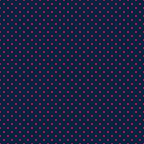 Mini Hot Pink Polkadots on Navy Blue