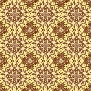 Cross and Star in apricot yellow and brown