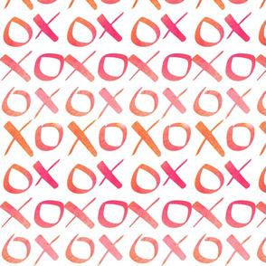 xoxo Watercolor Pink Orange