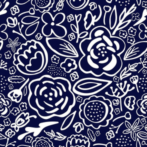 Floral Explosion (Navy & White)