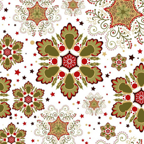 Holiday Green and Red Snowflakes with Stars