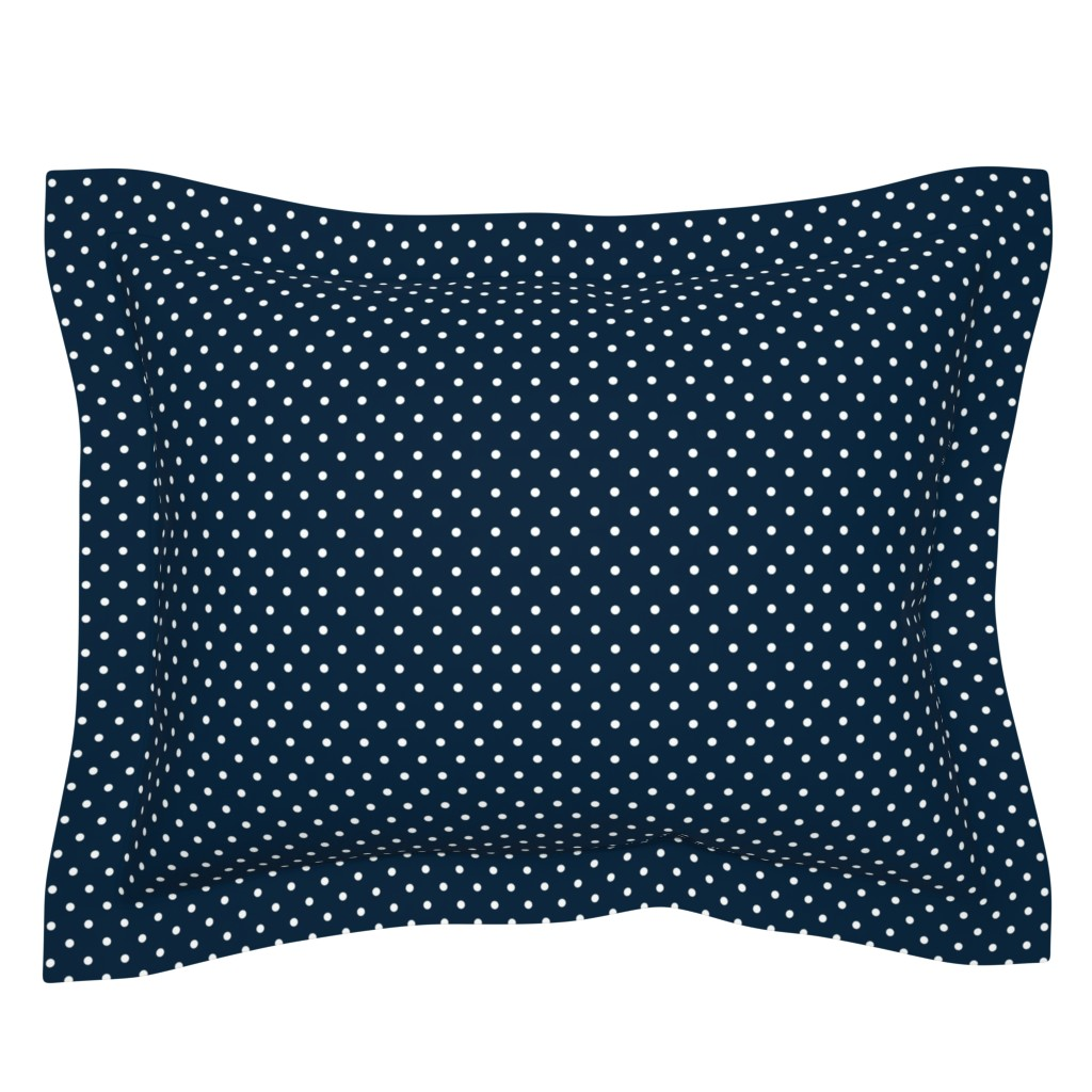 Sebright Pillow Sham featuring  Mini White Polkadots on Navy Blue  by paper_and_frill