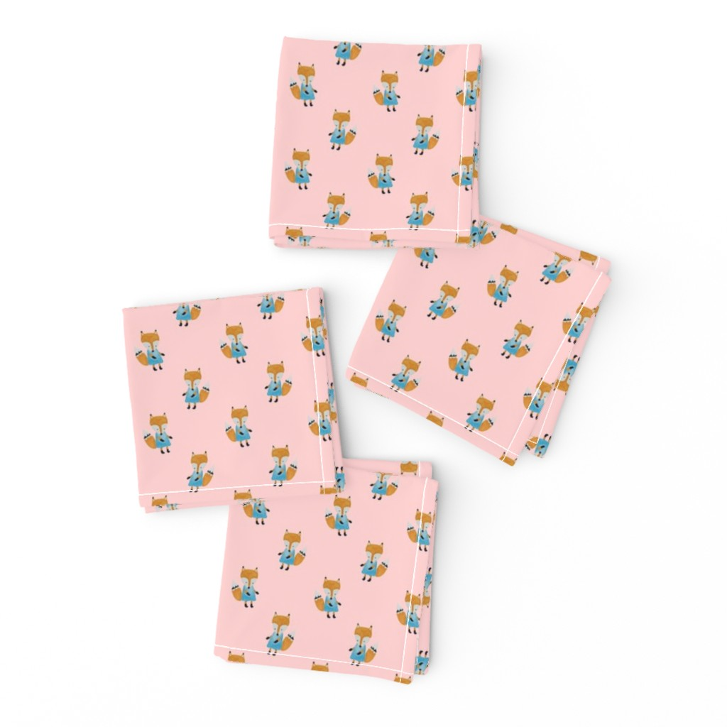 Frizzle Cocktail Napkins featuring Fox Forest Friends All Over Repeat Pattern on Baby Pink by paper_and_frill