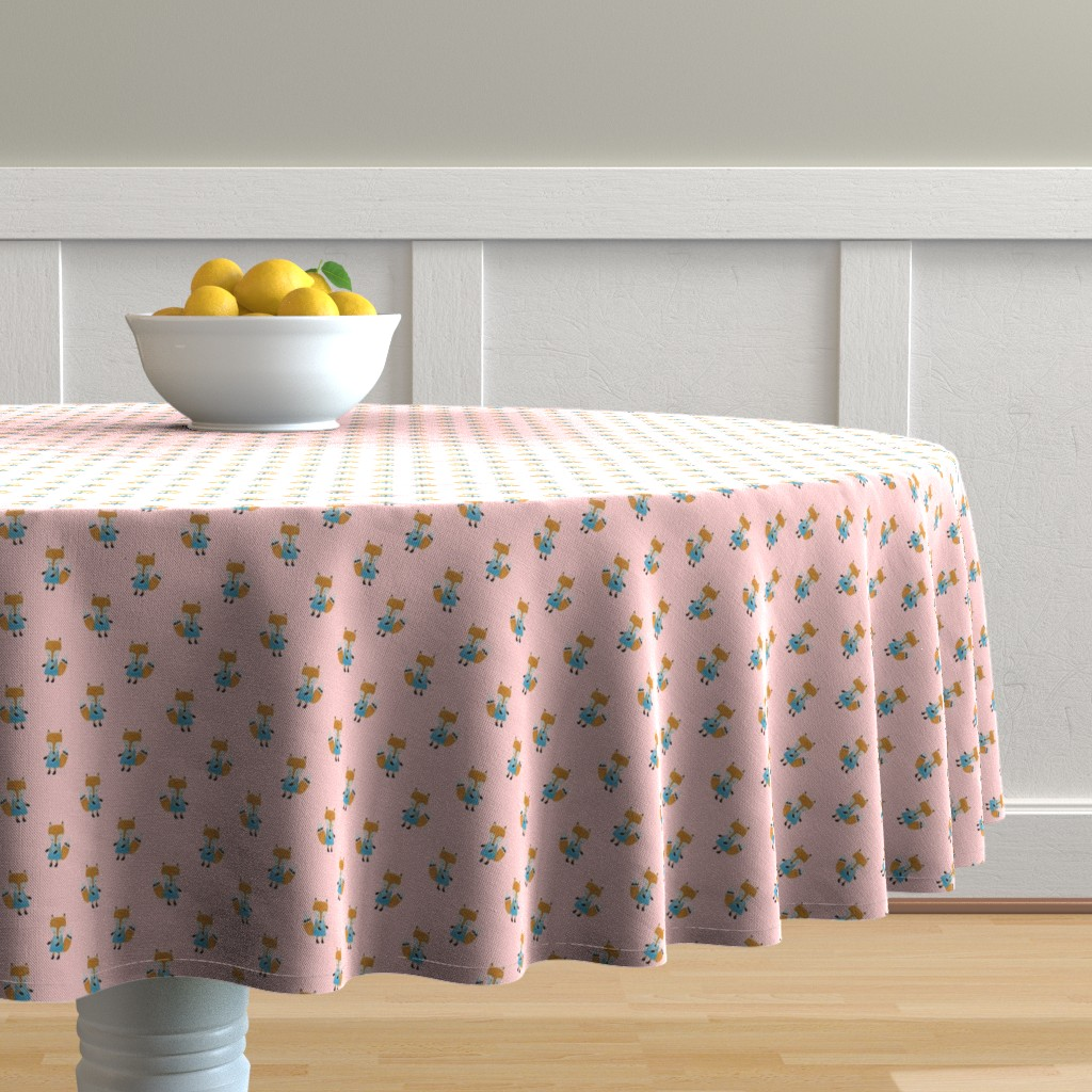 Malay Round Tablecloth featuring Fox Forest Friends All Over Repeat Pattern on Baby Pink by paper_and_frill