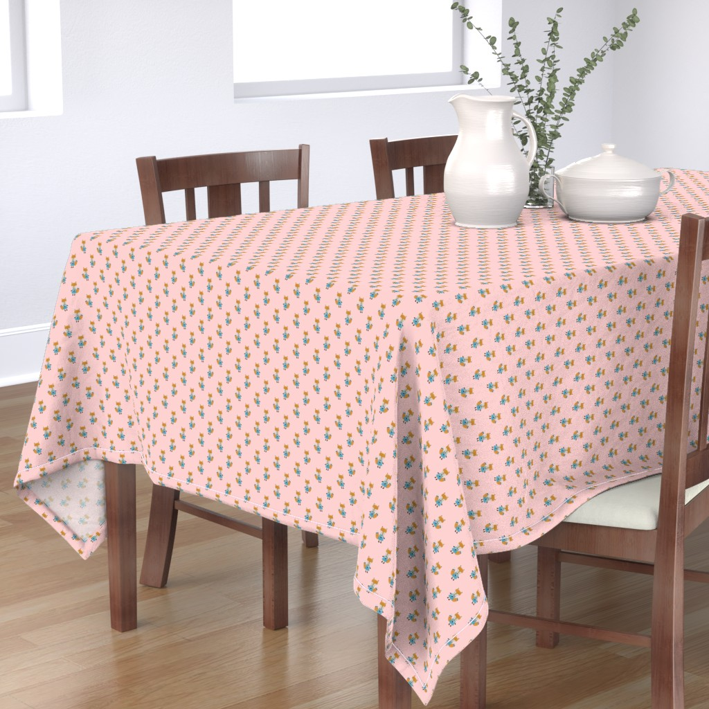Bantam Rectangular Tablecloth featuring Fox Forest Friends All Over Repeat Pattern on Baby Pink by paper_and_frill