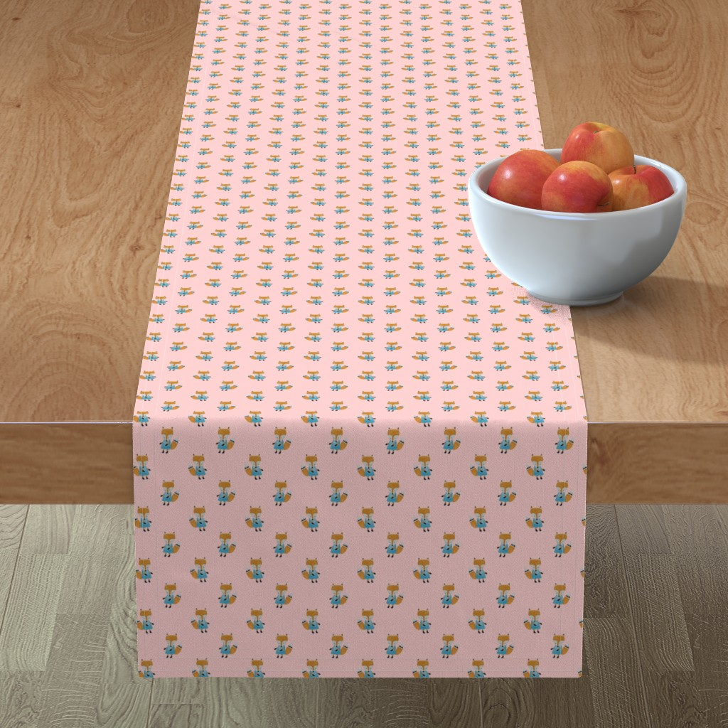 Minorca Table Runner featuring Fox Forest Friends All Over Repeat Pattern on Baby Pink by paper_and_frill