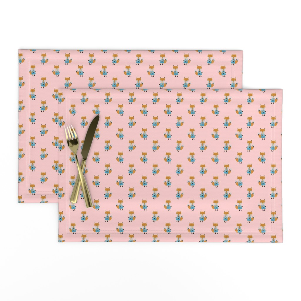 Lamona Cloth Placemats featuring Fox Forest Friends All Over Repeat Pattern on Baby Pink by paper_and_frill
