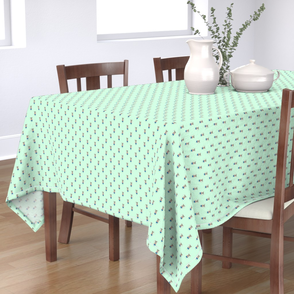 Bantam Rectangular Tablecloth featuring Mouse Forest Friends All Over Repeat Pattern in Mint Green by paper_and_frill