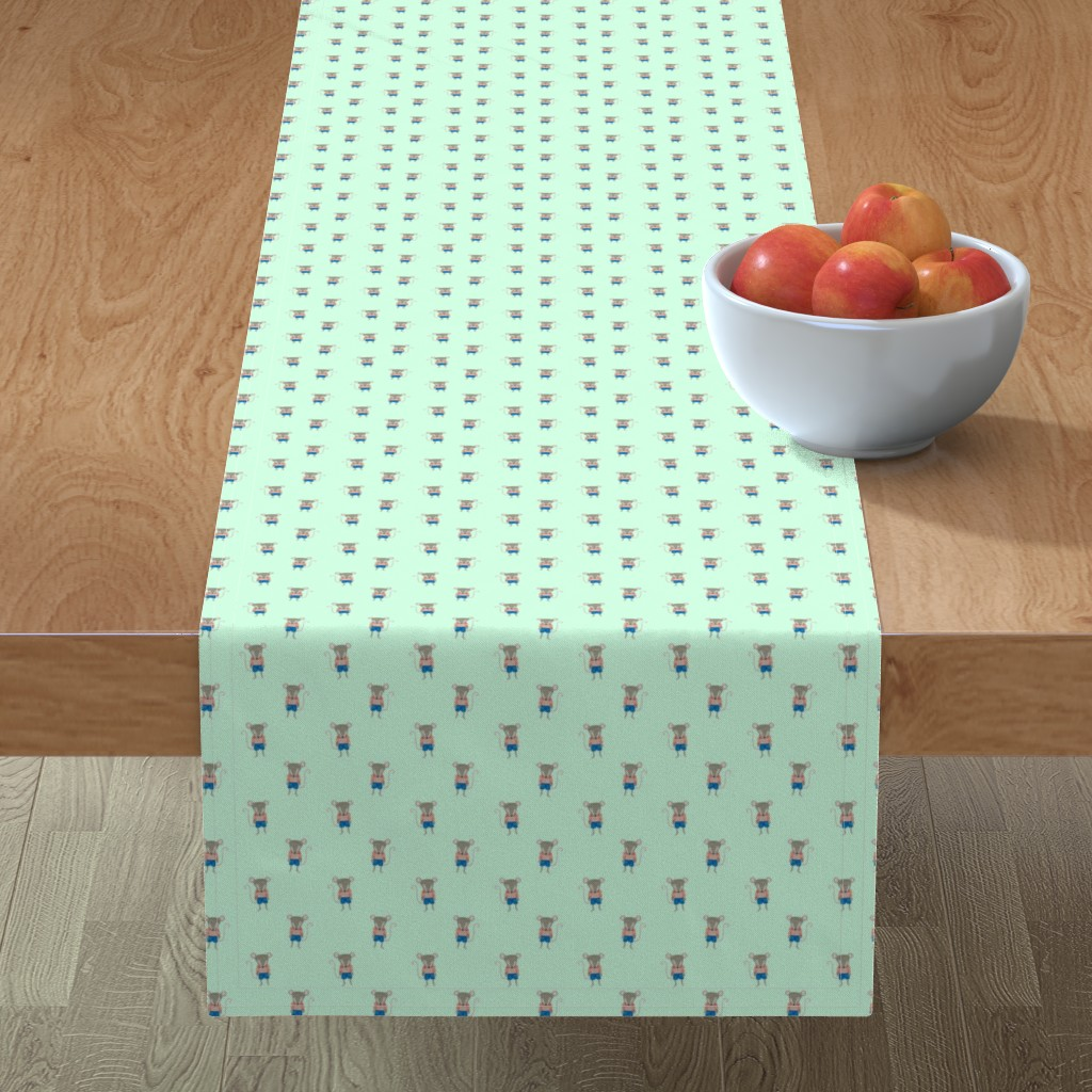Minorca Table Runner featuring Mouse Forest Friends All Over Repeat Pattern in Mint Green by paper_and_frill