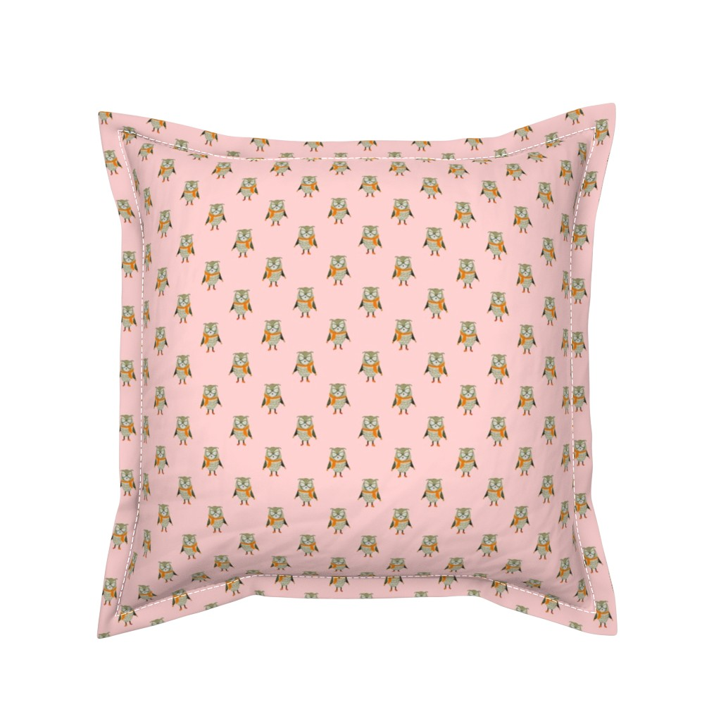 Serama Throw Pillow featuring Owl Forest Friends All-Over Repeat Pattern in Baby Pink by paper_and_frill
