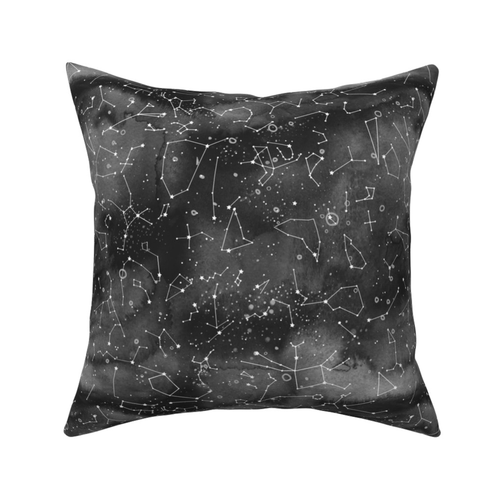 Catalan Throw Pillow featuring Constellations -black watercolour background by emeryallardsmith